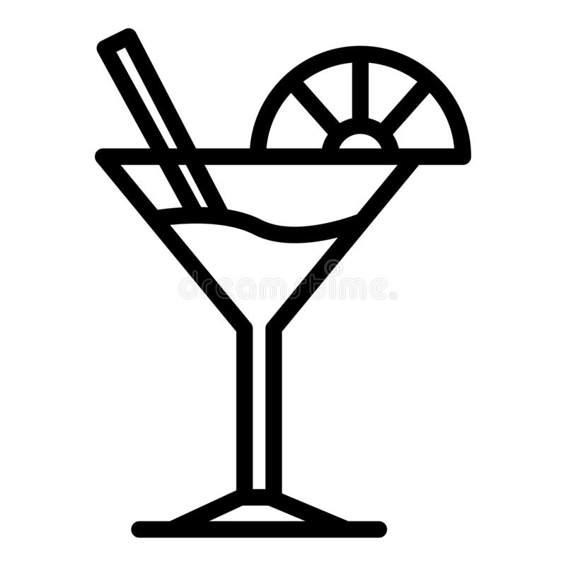 Free Martini Glass And Lime Slice Icon, Outline Style Royalty Free Stock Photo - 183985015