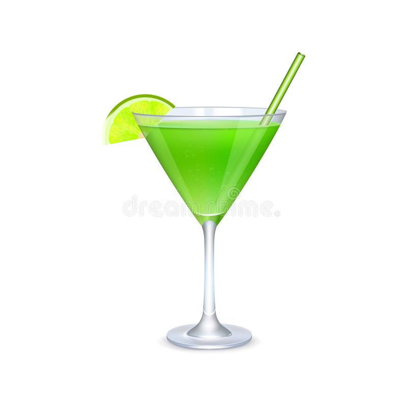 Martini glass with green cocktail stock images