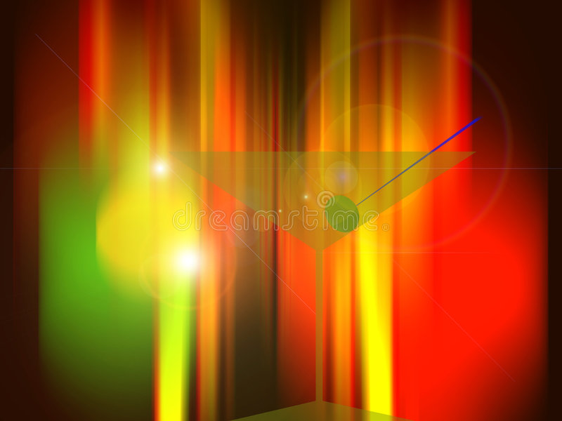 Martini glass with olive in front of neon lights stock illustration
