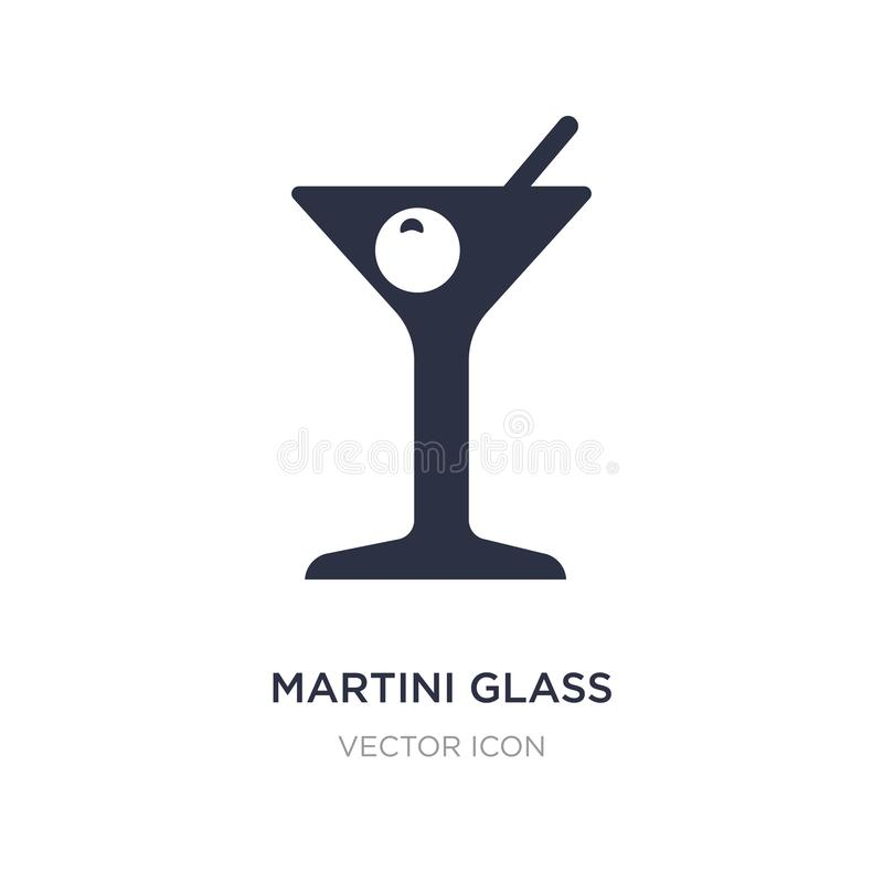 Martini glass with olive icon on white background. Simple element illustration from Party concept. Martini glass with olive sign icon symbol design stock illustration