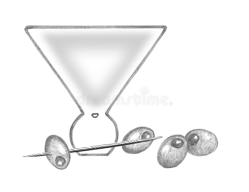 Download Martini Glass With Olives, Martini Pick Stock Illustration - Image: 10797488