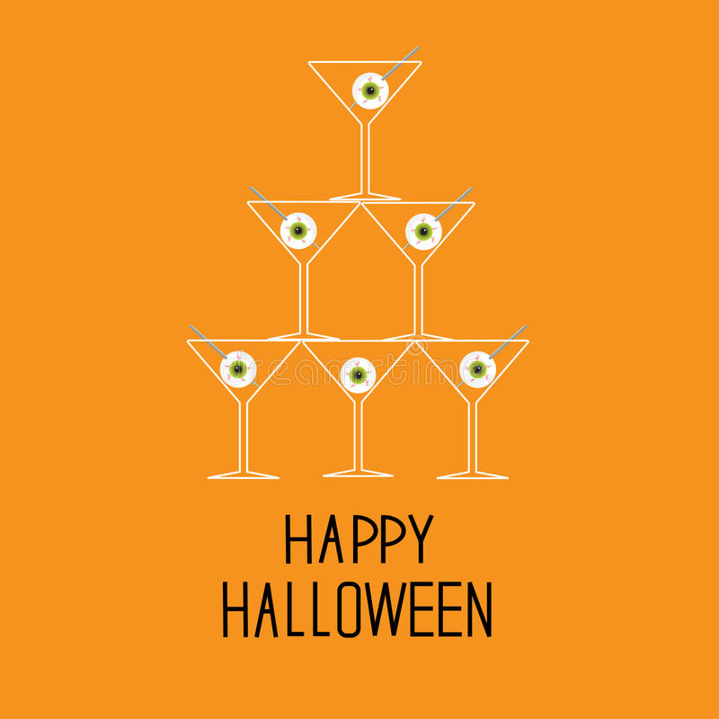 Download Martini Glasses Pyramid With Eyeballs. Happy Hallo Stock Vector - Image: 36787309
