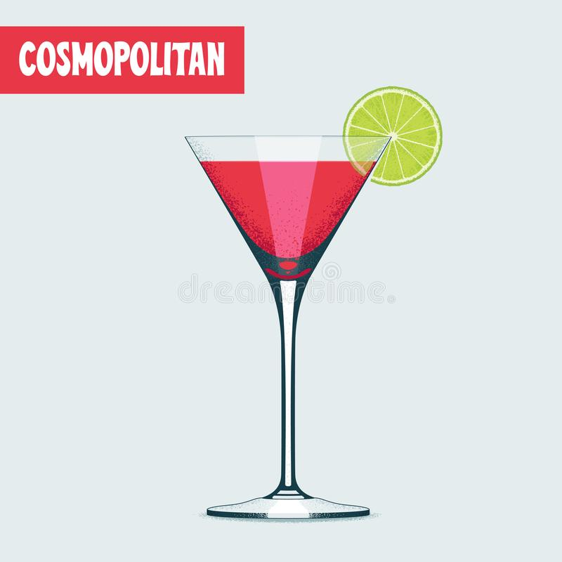 Martini koktajlu szkło z czerwonym napoju wektorem ilustracja wektor