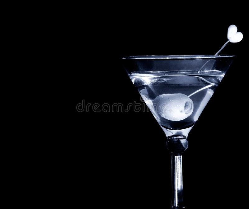 Martini with love On Black royalty free stock photography