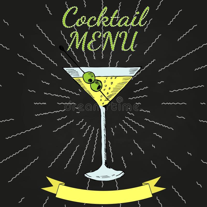 Martini, menú de los cócteles en pizarra del color 3 ilustración del vector