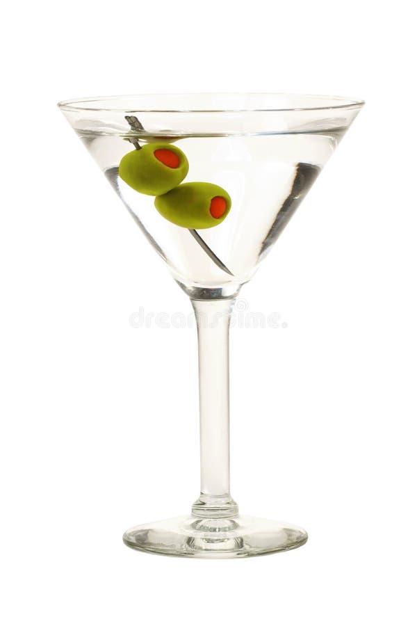 Martini met geïsoleerdek Olijven stock foto