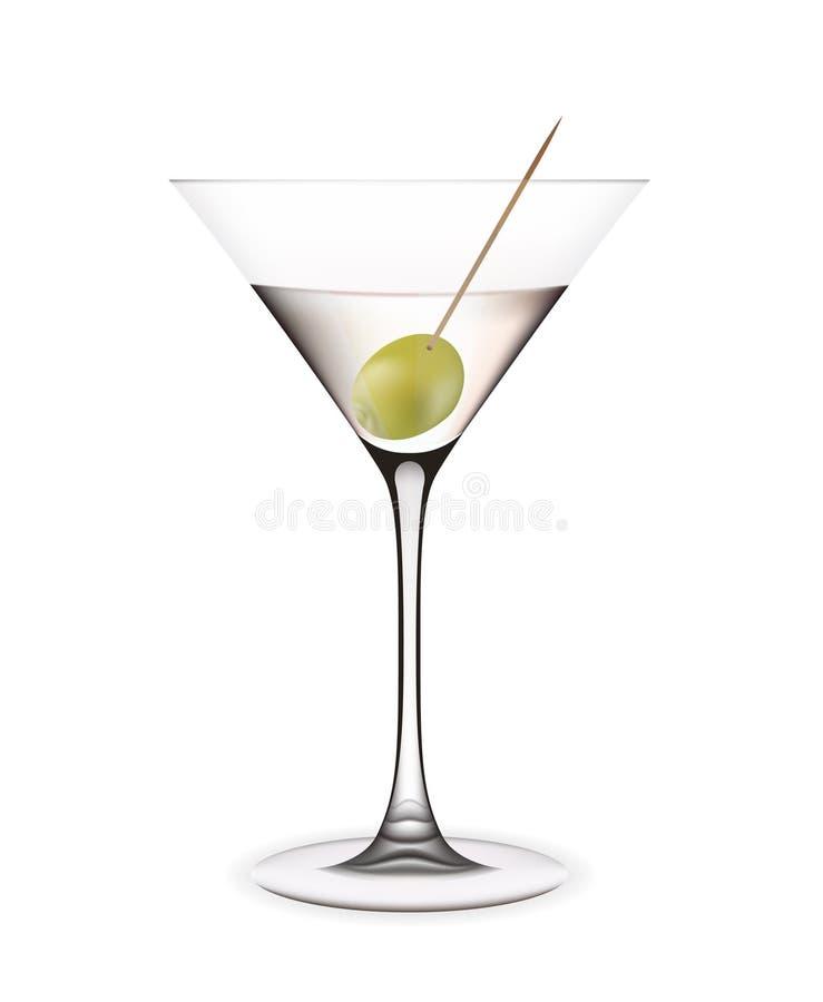 Martini met olijf. stock afbeelding