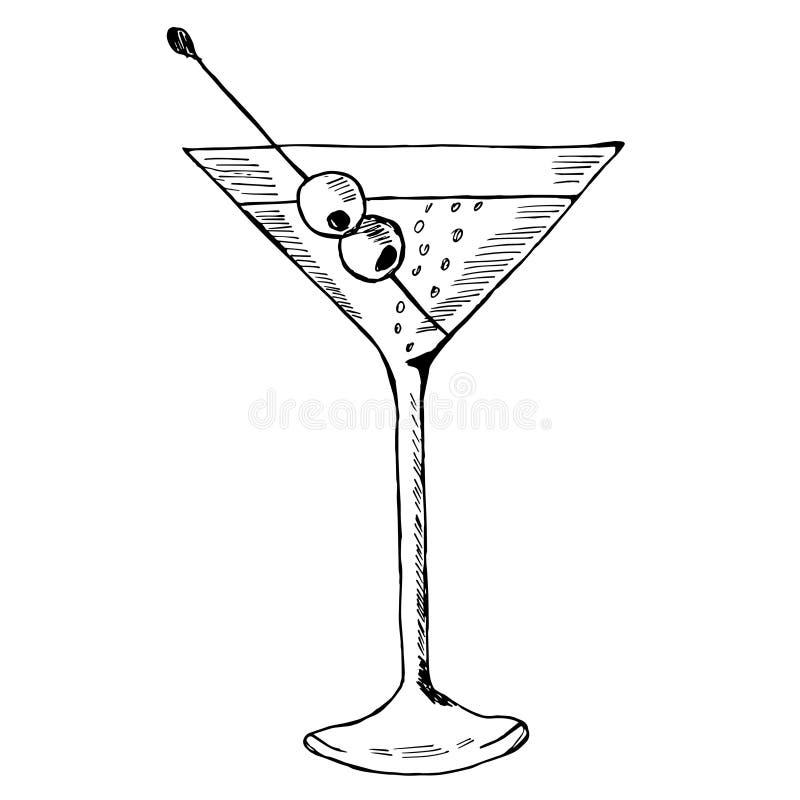 Martini met olijf in glas royalty-vrije illustratie