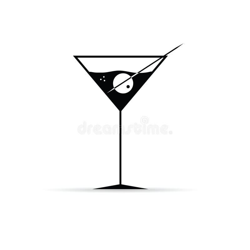 Martini met olijfvector vector illustratie