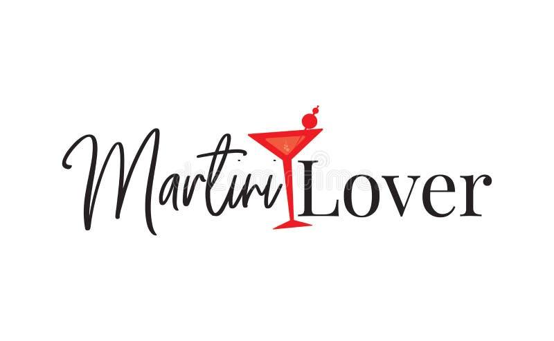 Martini-Minnaar, T-shirtontwerp die, Afficheontwerp, Ontwerp, het Van letters voorzien, Martini-Glasillustratie verwoorden royalty-vrije illustratie