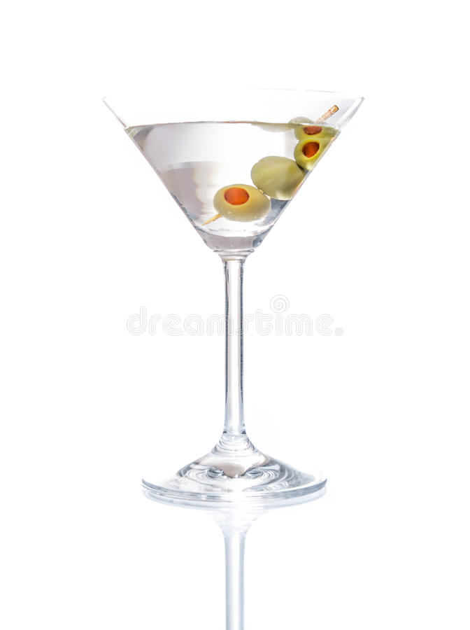 Martini mixed drink with olive stock photos