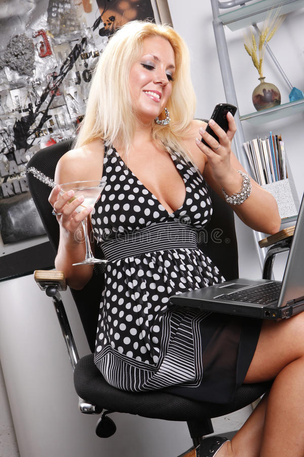 Download Martini at the office stock photo. Image of computer - 16212722