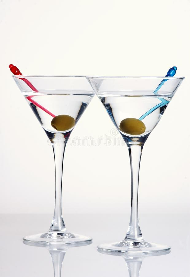 Martini with olive royalty free stock photos