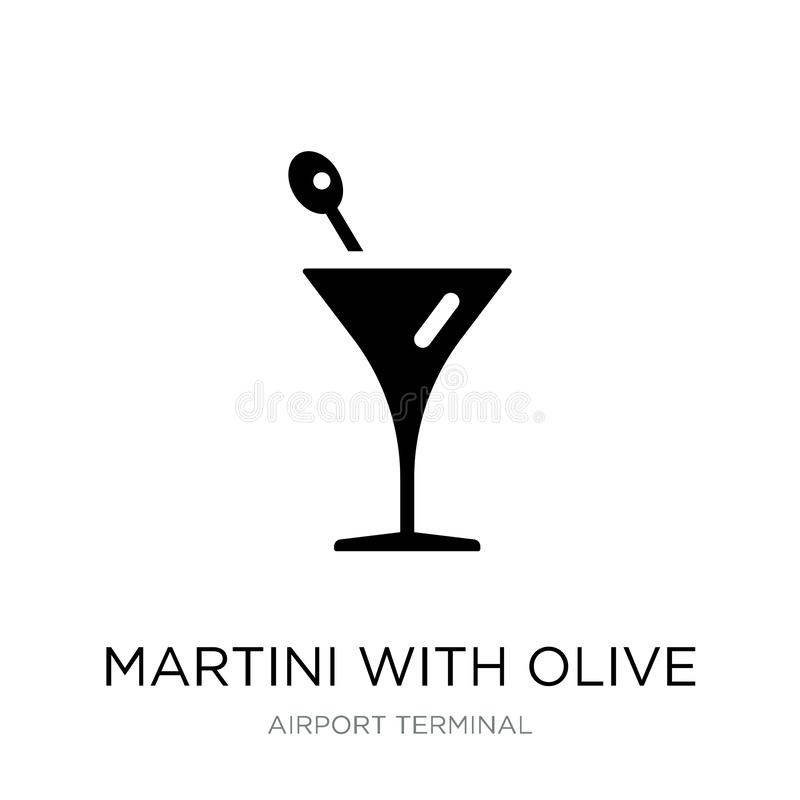 Martini with olive icon in trendy design style. martini with olive icon isolated on white background. martini with olive vector. Icon simple and modern flat royalty free illustration