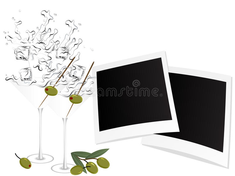 Martini And Photo Frames Royalty Free Stock Photo
