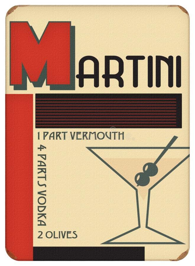 Martini-Plakat-Art Deco Sytle Vintage Retro-Partei lizenzfreies stockbild