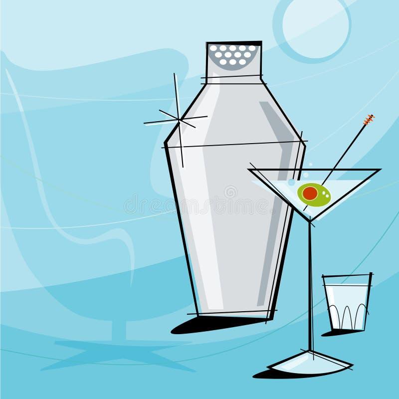 martini retro vektor stock illustrationer