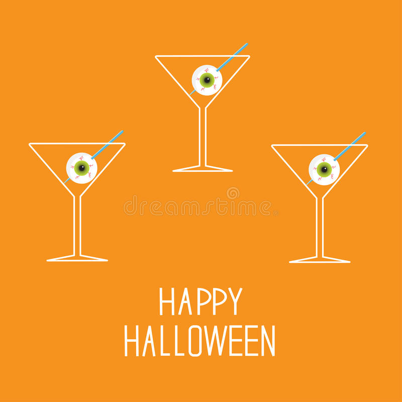 Martini Set With Eyeballs. Happy Halloween Card. Royalty Free Stock Photography