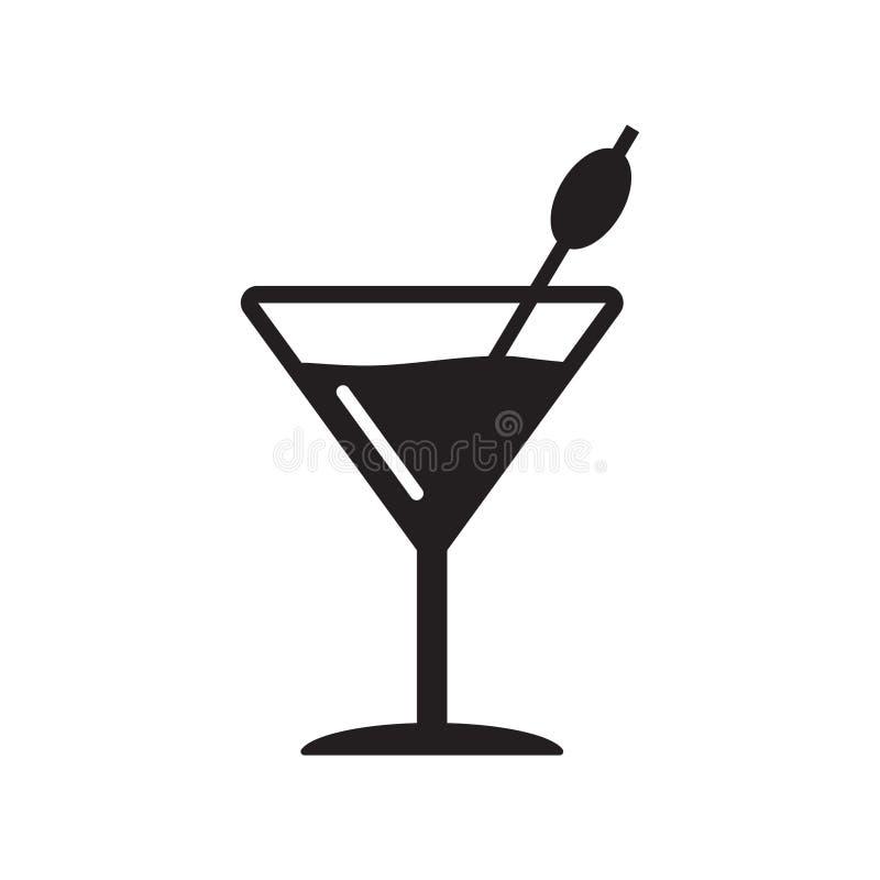 Martini szklana ikona, koktajl wektorowa ikona, nap ilustracji