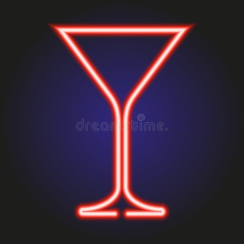 Martini szklany rozjarzony czerwony neonowy ilustracja royalty ilustracja