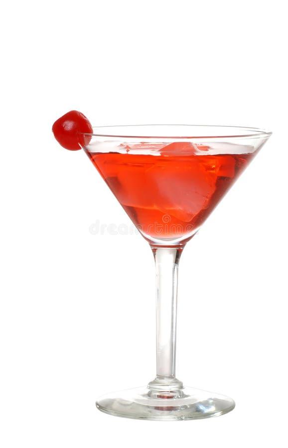 Martini vermelho isolado com uma cereja imagem de stock