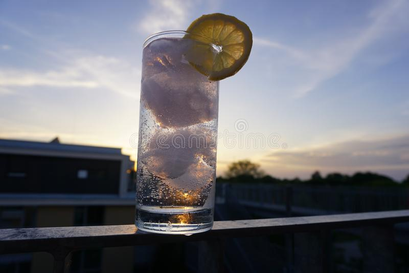Martini z kostkami lodu wieczorem zdjęcie royalty free
