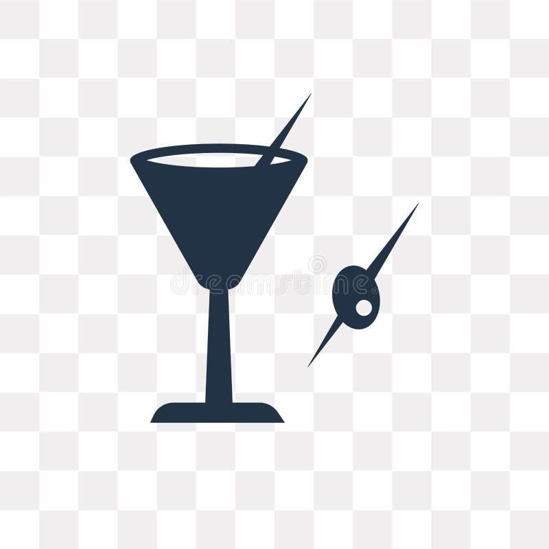 Martini z Oliwną wektorową ikoną odizolowywającą na przejrzystym backgroun ilustracji