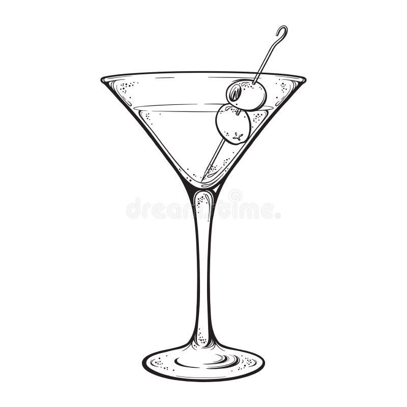 Martini z oliwnym alkoholicznym koktajlem w szkle odizolowywającym na biała ręka rysującej tło rocznika stylu kreskowej sztuki we ilustracja wektor