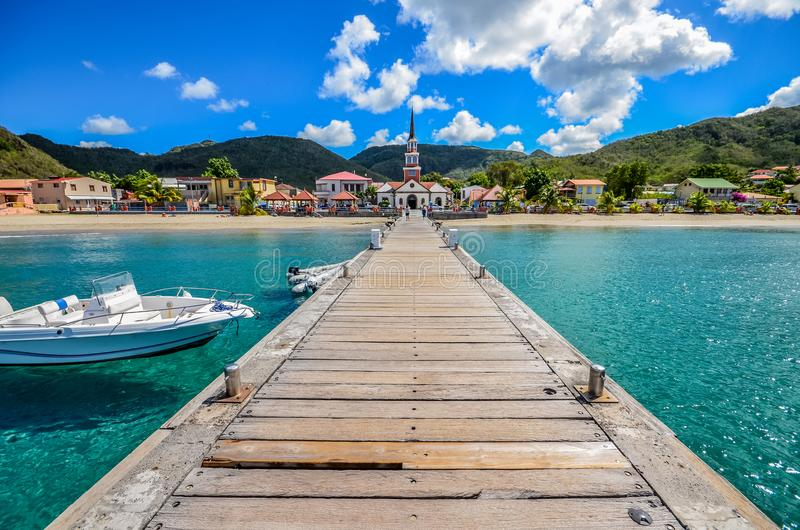 Martinique beach Anse d`Arlet from pontoon stock images