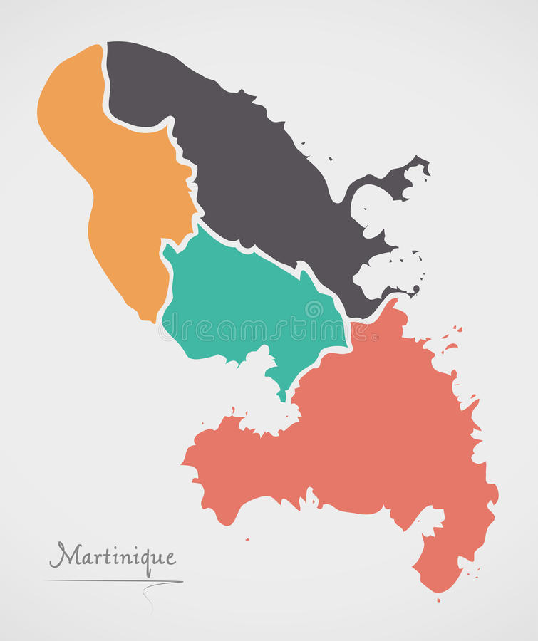 Martinique Map with states and modern round shapes. Illustration vector illustration
