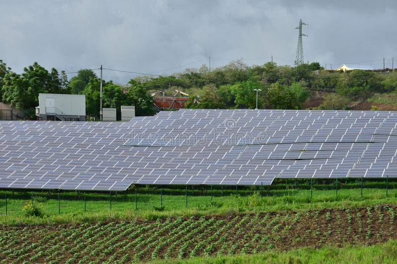 Martinique, photovoltaic panel in Bellefontaine countryside royalty free stock photos