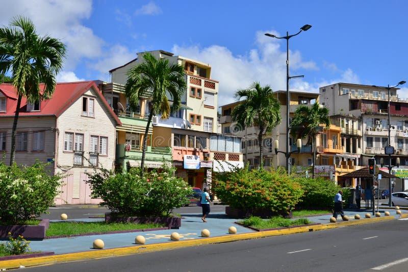 Martinique pittoresk stad av Fort de France i västra Indies royaltyfri bild