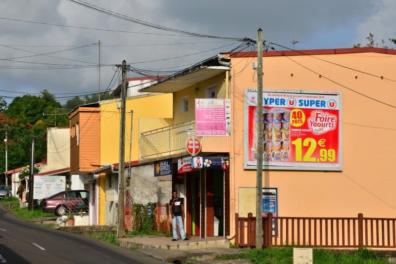 Martinique pittoresk stad av Le Helgon Esprit i västra Indies royaltyfria bilder