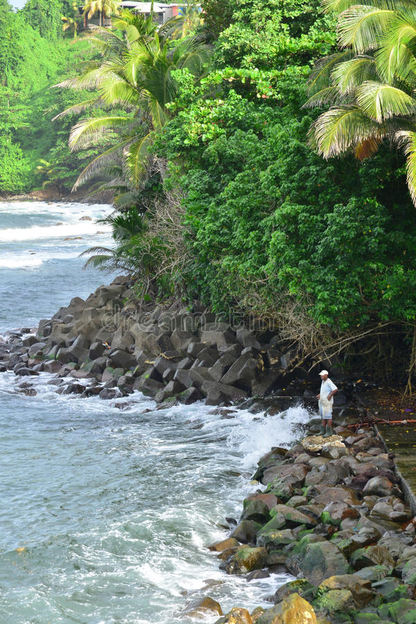 Martinique pittoresk stad av Marigot i västra Indies arkivfoto