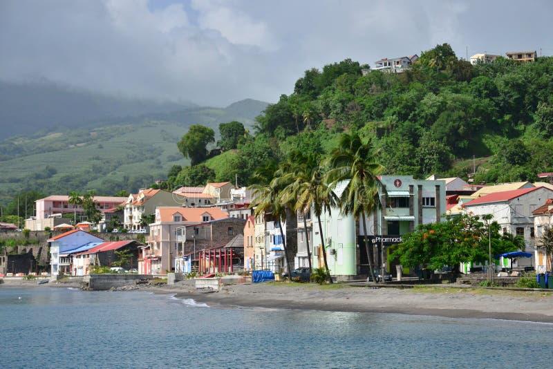 Martinique pittoresk stad av Saint Pierre i västra Indies arkivbild
