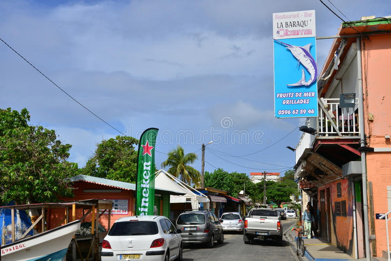 Martinique pittoresk stad av Sainte Luce i västra Indies royaltyfri fotografi