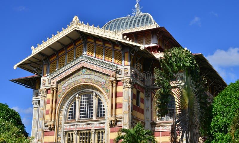 Martinique, schilderachtige Schoelcher-bibliotheek van Fort de France binnen royalty-vrije stock fotografie