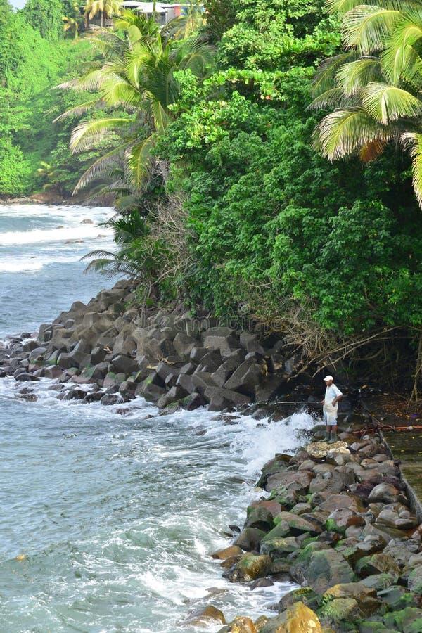 Martinique, schilderachtige stad van Marigot in de Antillen stock foto