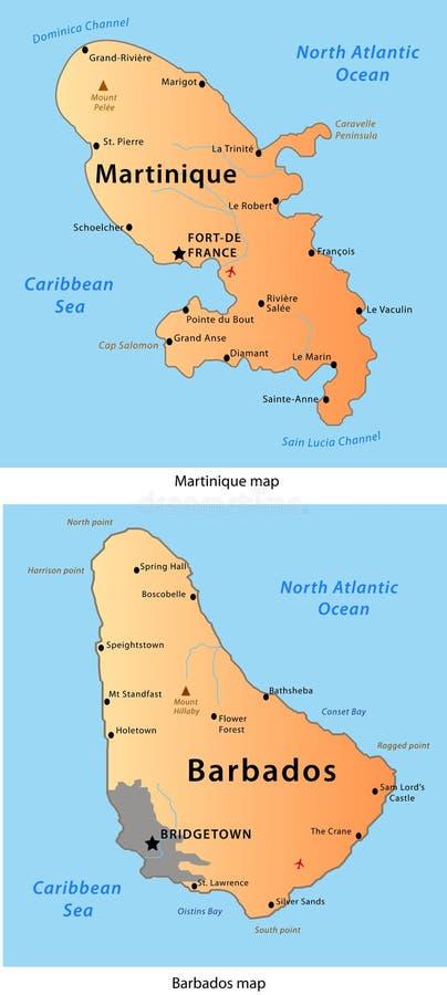 Martinique-u. Barbados-Karte lizenzfreie abbildung