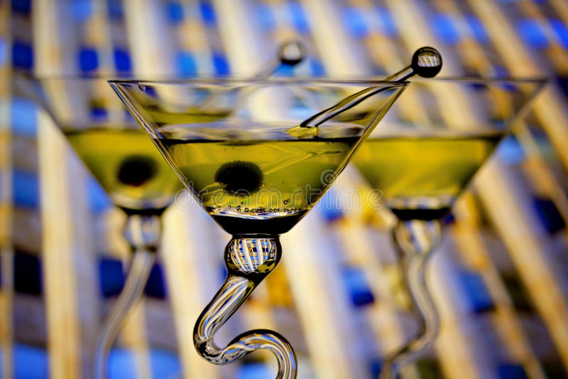 Martinis With Downtown Background Stock Photos