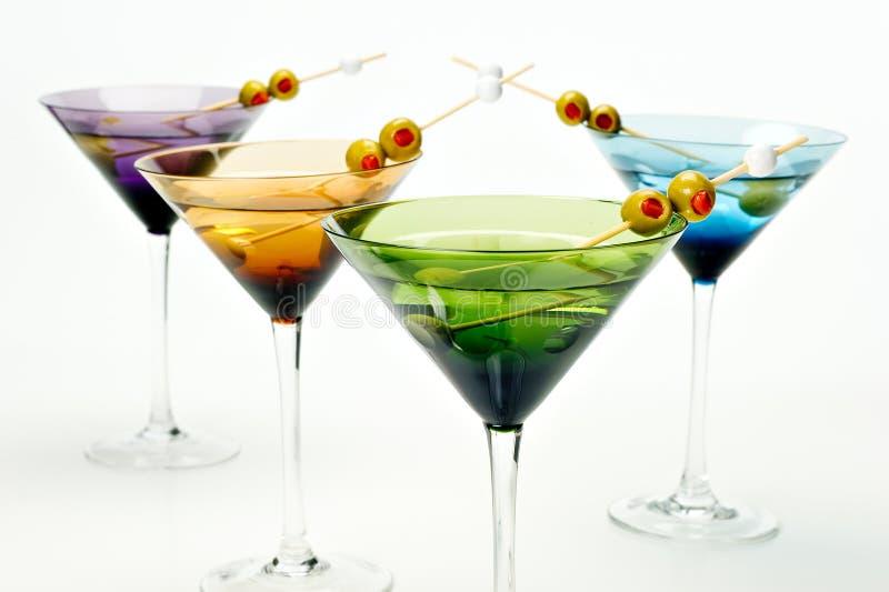 Martinis em vidros coloridos foto de stock royalty free