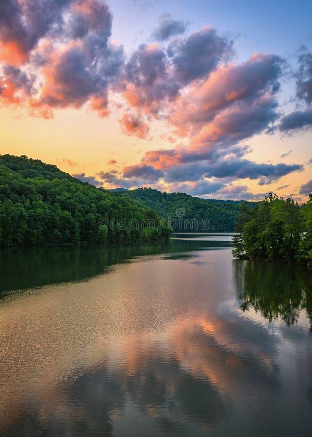 Martins Fork Lake, tramonto scenico, Kentucky fotografia stock