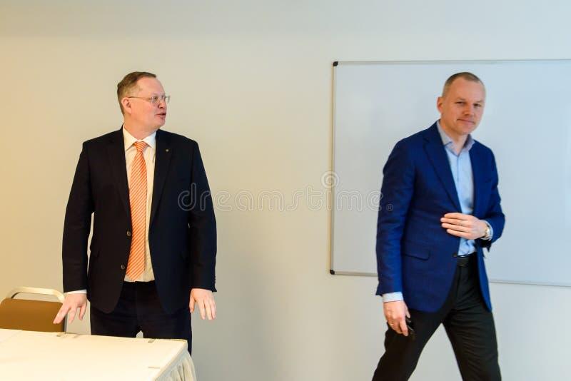 Martins Kriekis, previous member of Supervisory Council and Karlis Krastins, New member of supervisory board of Olainfarm. 01.04.2019. RIGA, LATVIA. Martins stock photos