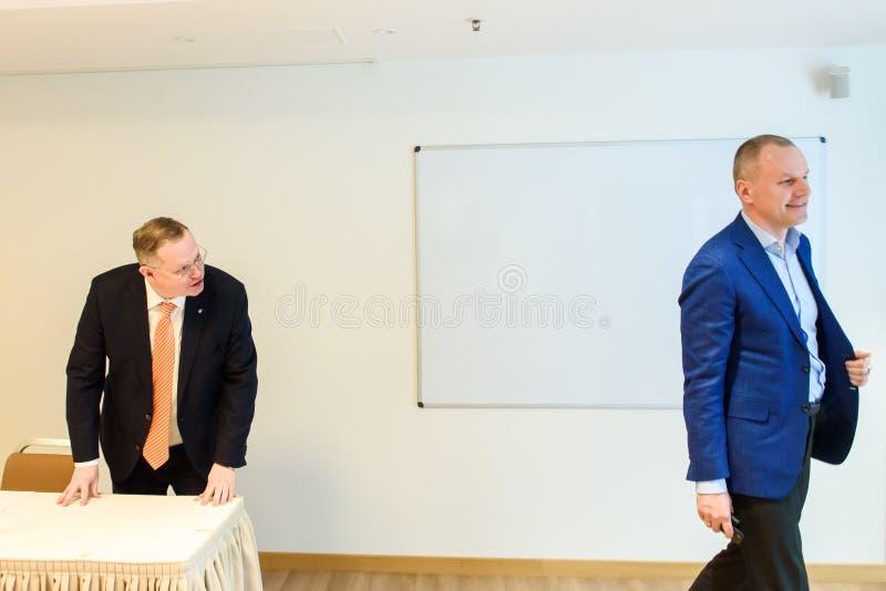 Martins Kriekis, previous member of Supervisory Council and Karlis Krastins, New member of supervisory board. 01.04.2019. RIGA, LATVIA. Martins Kriekis royalty free stock images