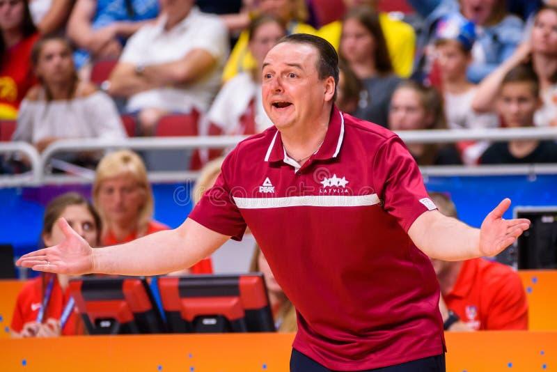 Martins Zibarts, primer entrenador del equipo del baloncesto de las mujeres nacionales de Letonia imágenes de archivo libres de regalías