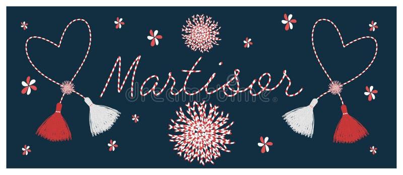 Martisor празднуя предпосылку вектора элементов иллюстрация штока