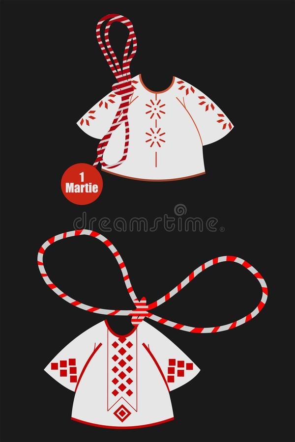 Martisor with traditional Romanian wear. royalty free illustration