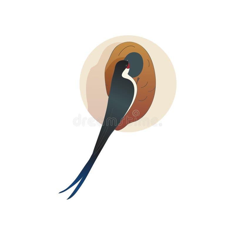 Martlet som sitter nära redeladugårdsvala Lös fågel med den långa svansen Djurliv- och faunatema Plan vektorsymbol royaltyfri illustrationer