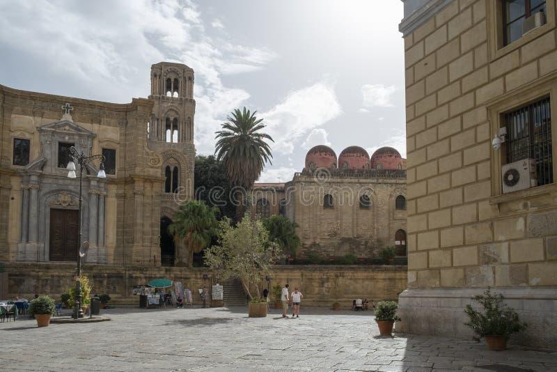 Martorana和广场波里尼,巴勒莫,西西里岛,意大利 库存照片