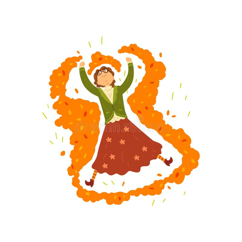 Marturevrouw die een sneeuwengel in een stapel van de herfstbladeren maken, oma die pret, het karakter van het vrouwenbeeldverhaa royalty-vrije illustratie